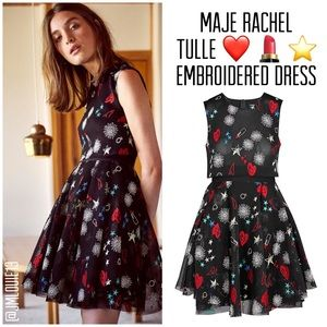 Maje Rachel Tulle Heart Lipstick Embroidered Dress